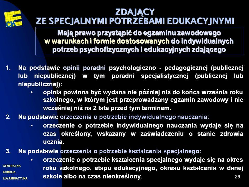 EGZAMINACYJNA CENTRALNA KOMISJA 29 ZDAJ Ą CY ZE SPECJALNYMI POTRZEBAMI EDUKACYJNYMI Mają prawo przystąpić do egzaminu zawodowego w warunkach i formie dostosowanych do indywidualnych potrzeb psychofizycznych i edukacyjnych zdającego 1.Na podstawie opinii poradni psychologiczno - pedagogicznej (publicznej lub niepublicznej) w tym poradni specjalistycznej (publicznej lub niepublicznej): opinia powinna być wydana nie później niż do końca września roku szkolnego, w którym jest przeprowadzany egzamin zawodowy i nie wcześniej niż na 2 lata przed tym terminem.