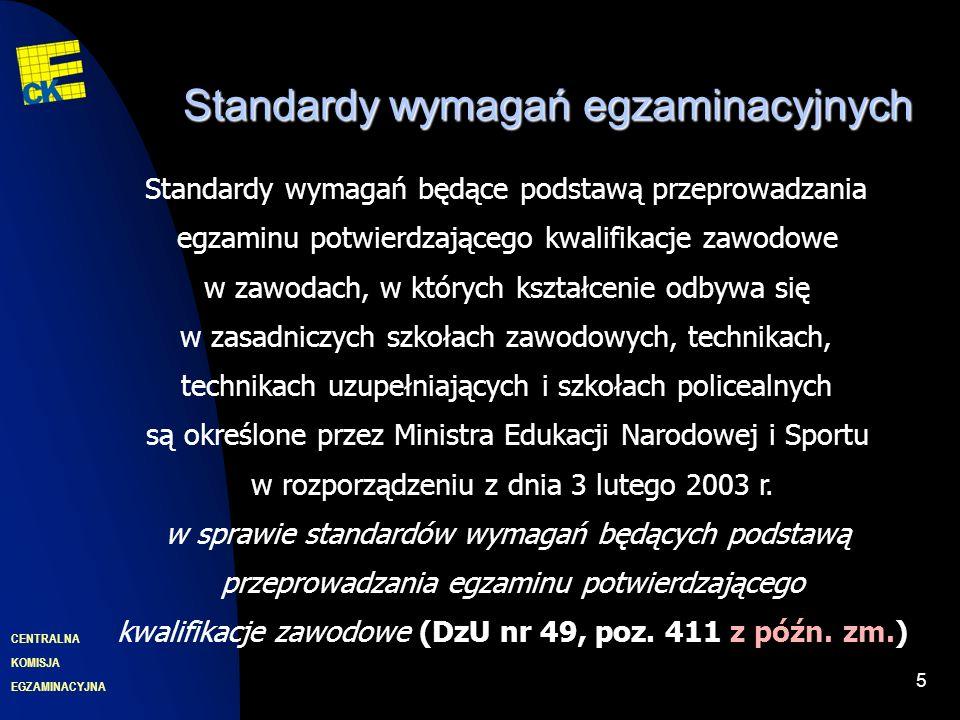 EGZAMINACYJNA CENTRALNA KOMISJA 5 Standardy wymagań egzaminacyjnych Standardy wymagań będące podstawą przeprowadzania egzaminu potwierdzającego kwalifikacje zawodowe w zawodach, w których kształcenie odbywa się w zasadniczych szkołach zawodowych, technikach, technikach uzupełniających i szkołach policealnych są określone przez Ministra Edukacji Narodowej i Sportu w rozporządzeniu z dnia 3 lutego 2003 r.