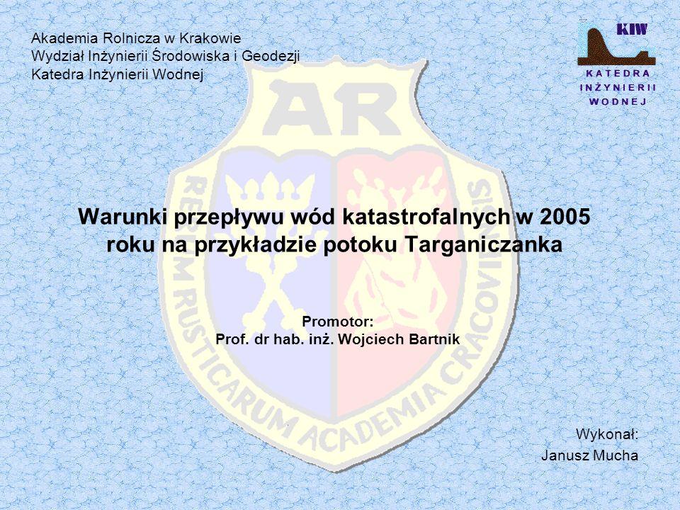 Warunki przepływu wód katastrofalnych w 2005 roku na przykładzie potoku Targaniczanka Wykonał: Janusz Mucha Promotor: Prof.