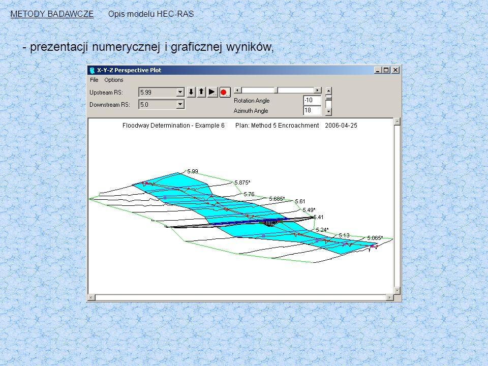 - prezentacji numerycznej i graficznej wyników, METODY BADAWCZEOpis modelu HEC-RAS