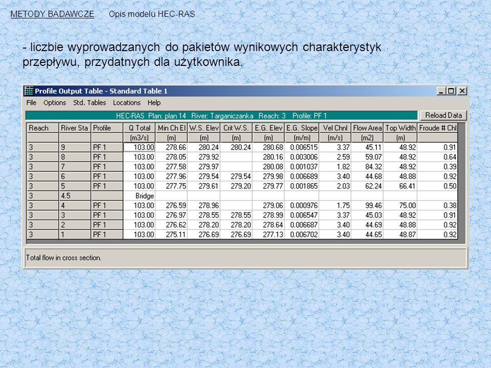 - liczbie wyprowadzanych do pakietów wynikowych charakterystyk przepływu, przydatnych dla użytkownika.