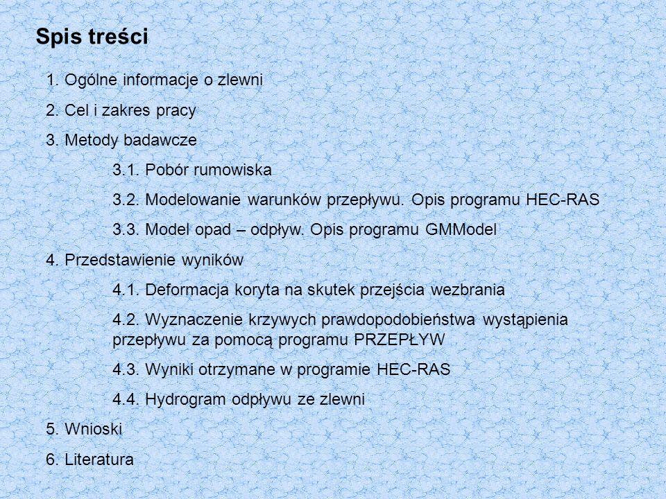 Spis treści 1. Ogólne informacje o zlewni 2. Cel i zakres pracy 3.
