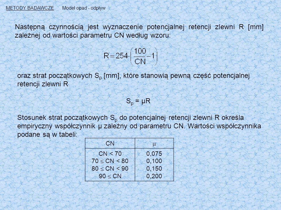 Następną czynnością jest wyznaczenie potencjalnej retencji zlewni R [mm] zależnej od wartości parametru CN według wzoru: oraz strat początkowych S p [mm], które stanowią pewną część potencjalnej retencji zlewni R S p = μR Stosunek strat początkowych S p do potencjalnej retencji zlewni R określa empiryczny współczynnik μ zależny od parametru CN.