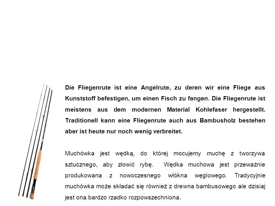 Fliegenrute wędka muchowa (muchówka) Die Fliegenrute ist eine Angelrute, zu deren wir eine Fliege aus Kunststoff befestigen, um einen Fisch zu fangen.
