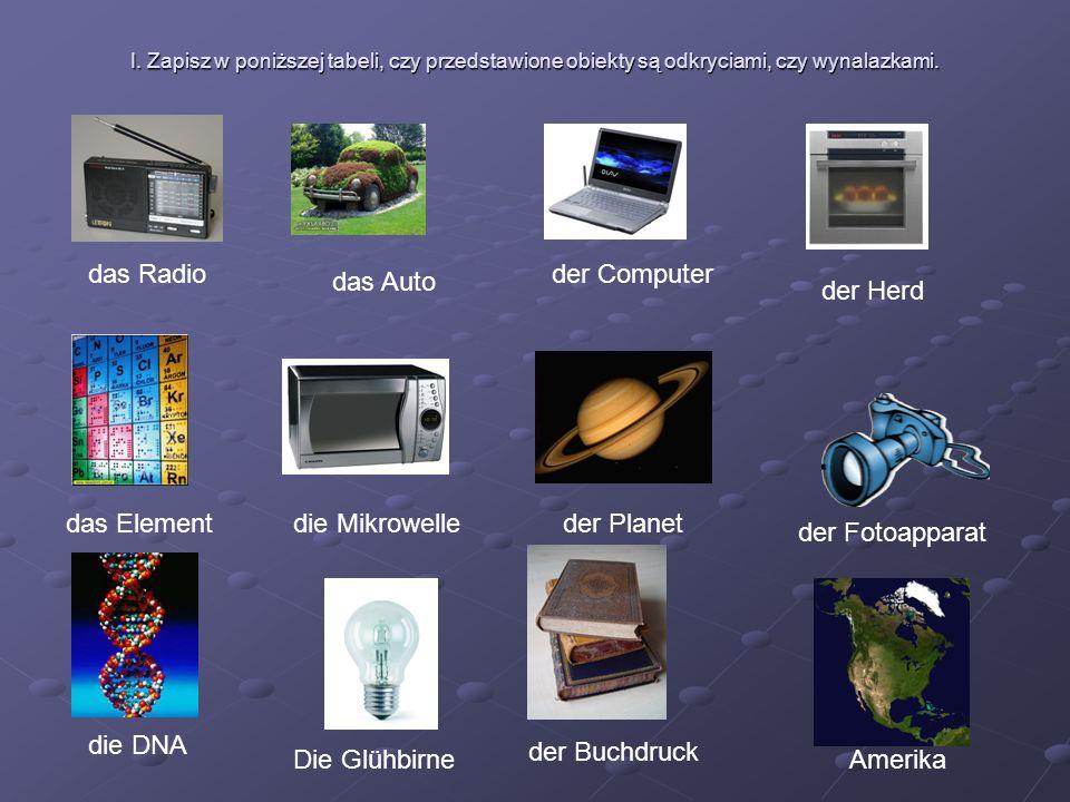 I. Zapisz w poniższej tabeli, czy przedstawione obiekty są odkryciami, czy wynalazkami.