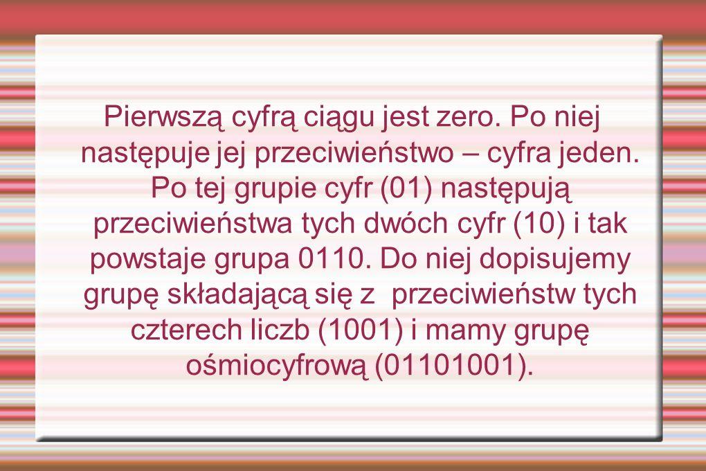Pierwszą cyfrą ciągu jest zero. Po niej następuje jej przeciwieństwo – cyfra jeden. Po tej grupie cyfr (01) następują przeciwieństwa tych dwóch cyfr (