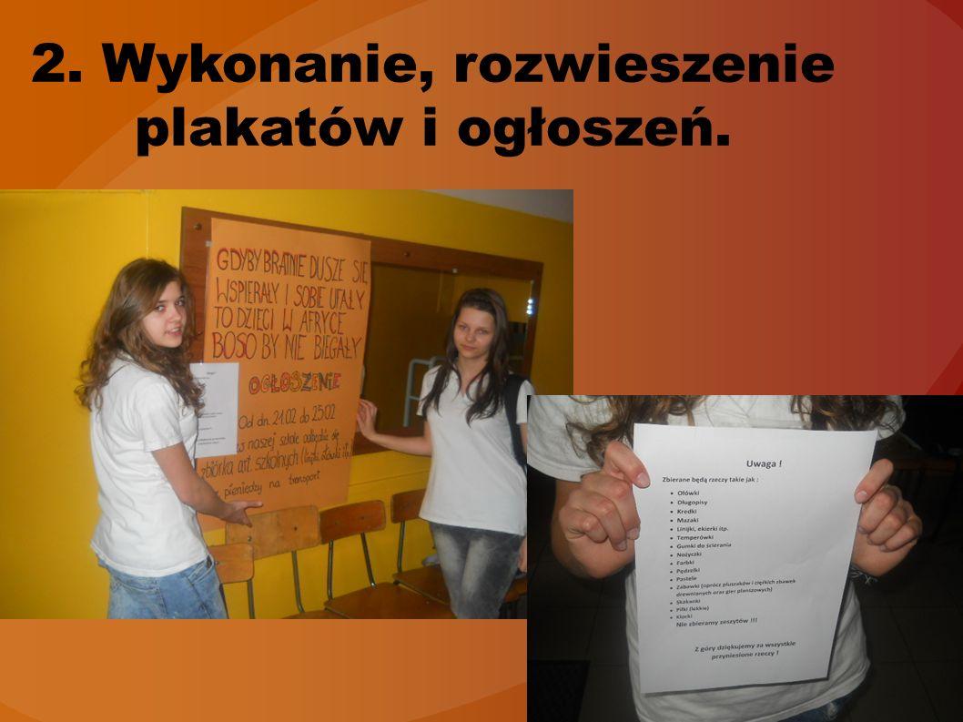 2. Wykonanie, rozwieszenie plakatów i ogłoszeń.