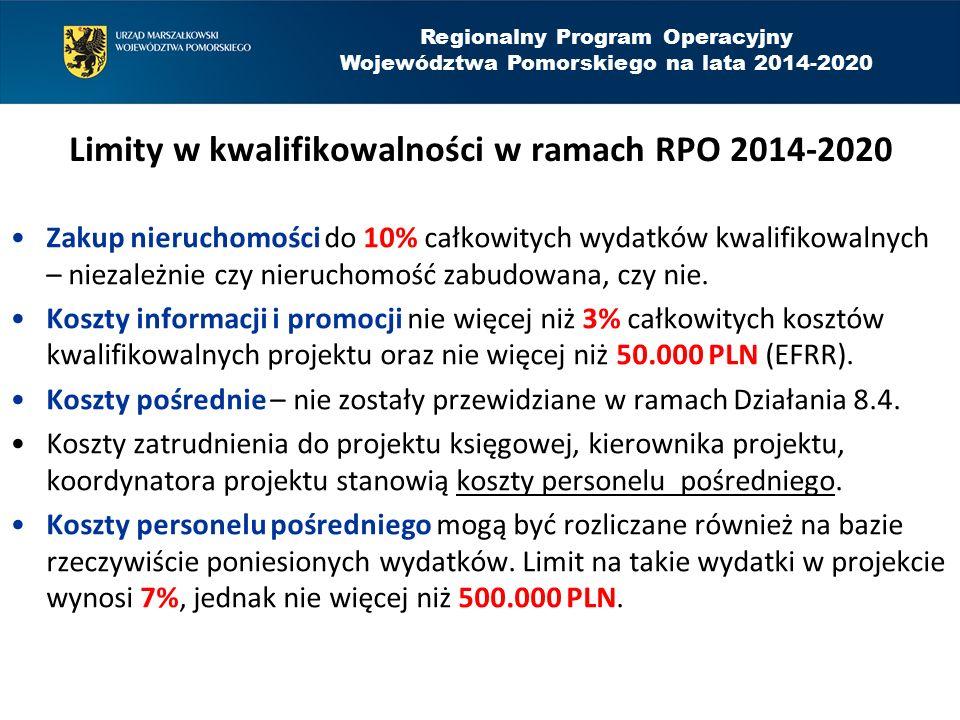 Limity w kwalifikowalności w ramach RPO 2014-2020 Zakup nieruchomości do 10% całkowitych wydatków kwalifikowalnych – niezależnie czy nieruchomość zabudowana, czy nie.