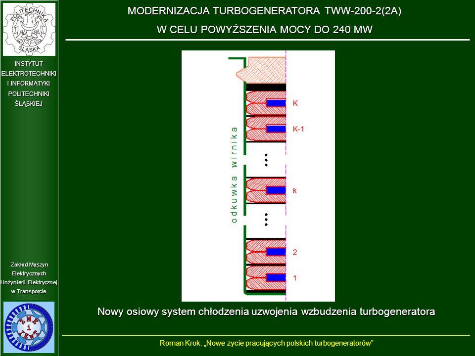 """Zakład Maszyn Elektrycznych i Inżynierii Elektrycznej w Transporcie INSTYTUT ELEKTROTECHNIKI I INFORMATYKI POLITECHNIKIŚLĄSKIEJ Nowy osiowy system chłodzenia uzwojenia wzbudzenia turbogeneratora MODERNIZACJA TURBOGENERATORA TWW-200-2(2A) W CELU POWYŻSZENIA MOCY DO 240 MW Roman Krok: """"Nowe życie pracujących polskich turbogeneratorów"""