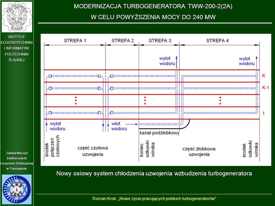 """Zakład Maszyn Elektrycznych i Inżynierii Elektrycznej w Transporcie INSTYTUT ELEKTROTECHNIKI I INFORMATYKI POLITECHNIKIŚLĄSKIEJ MODERNIZACJA TURBOGENERATORA TWW-200-2(2A) W CELU POWYŻSZENIA MOCY DO 240 MW Nowy osiowy system chłodzenia uzwojenia wzbudzenia turbogeneratora Roman Krok: """"Nowe życie pracujących polskich turbogeneratorów"""