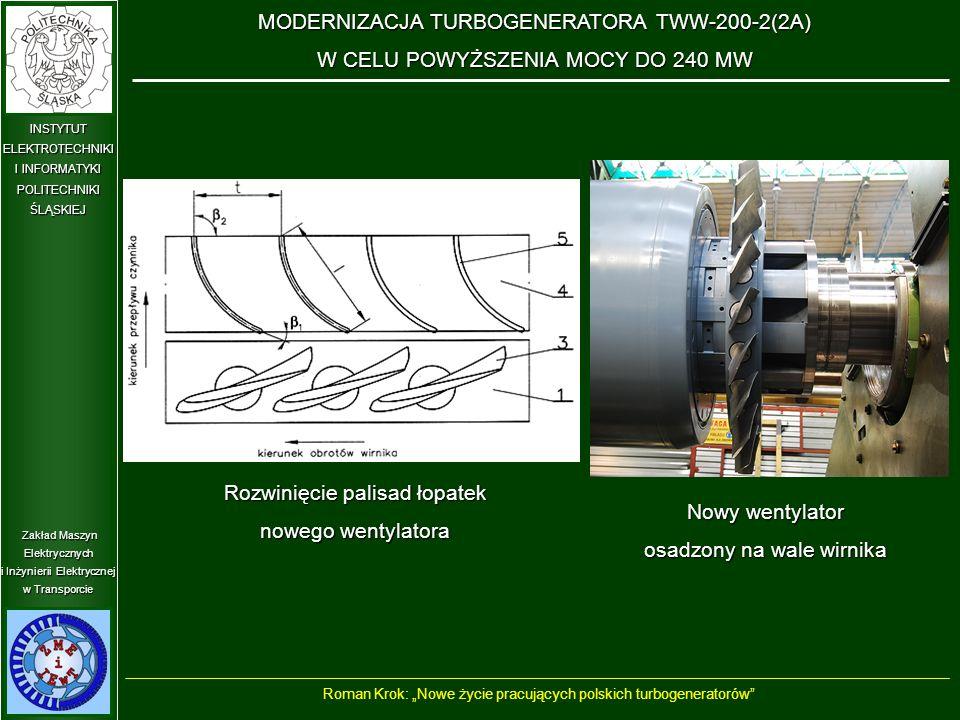 """Zakład Maszyn Elektrycznych i Inżynierii Elektrycznej w Transporcie INSTYTUT ELEKTROTECHNIKI I INFORMATYKI POLITECHNIKIŚLĄSKIEJ Rozwinięcie palisad łopatek nowego wentylatora MODERNIZACJA TURBOGENERATORA TWW-200-2(2A) W CELU POWYŻSZENIA MOCY DO 240 MW Roman Krok: """"Nowe życie pracujących polskich turbogeneratorów Nowy wentylator osadzony na wale wirnika"""