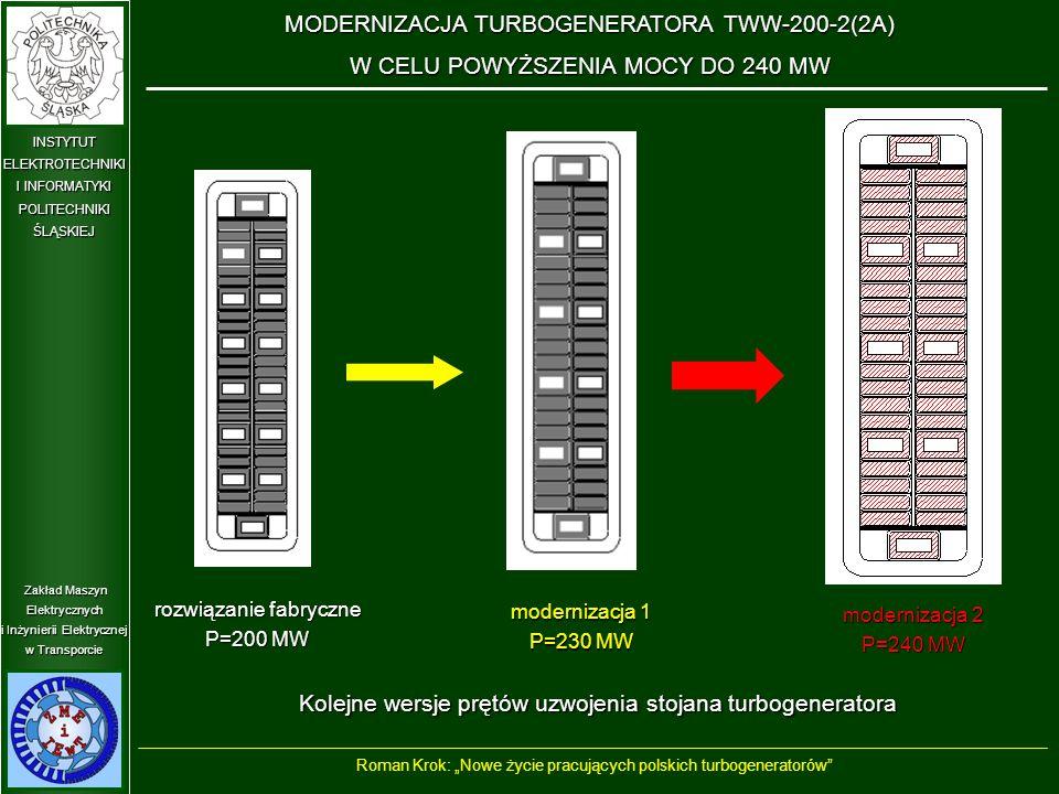 """Zakład Maszyn Elektrycznych i Inżynierii Elektrycznej w Transporcie INSTYTUT ELEKTROTECHNIKI I INFORMATYKI POLITECHNIKIŚLĄSKIEJ Kolejne wersje prętów uzwojenia stojana turbogeneratora rozwiązanie fabryczne P=200 MW modernizacja 1 P=230 MW modernizacja 2 P=240 MW MODERNIZACJA TURBOGENERATORA TWW-200-2(2A) W CELU POWYŻSZENIA MOCY DO 240 MW Roman Krok: """"Nowe życie pracujących polskich turbogeneratorów"""