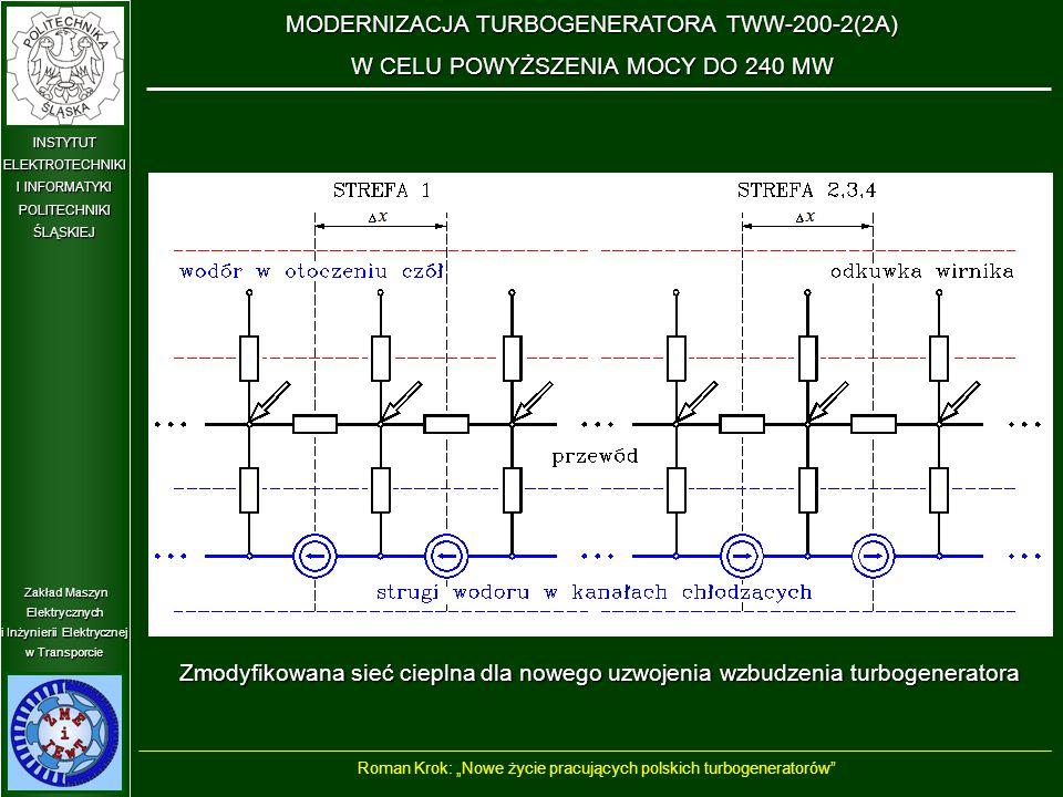 """Zakład Maszyn Elektrycznych i Inżynierii Elektrycznej w Transporcie INSTYTUT ELEKTROTECHNIKI I INFORMATYKI POLITECHNIKIŚLĄSKIEJ Zmodyfikowana sieć cieplna dla nowego uzwojenia wzbudzenia turbogeneratora MODERNIZACJA TURBOGENERATORA TWW-200-2(2A) W CELU POWYŻSZENIA MOCY DO 240 MW Roman Krok: """"Nowe życie pracujących polskich turbogeneratorów"""