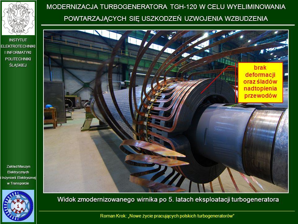 Zakład Maszyn Elektrycznych i Inżynierii Elektrycznej w Transporcie INSTYTUT ELEKTROTECHNIKI I INFORMATYKI POLITECHNIKIŚLĄSKIEJ Widok zmodernizowanego wirnika po 5.
