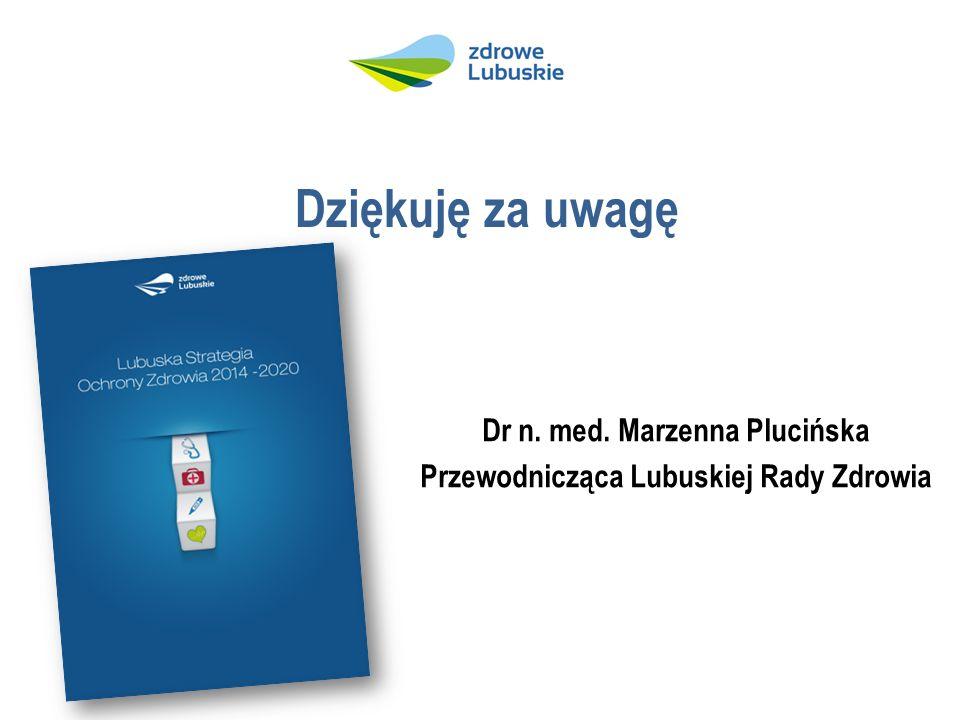 Dziękuję za uwagę Dr n. med. Marzenna Plucińska Przewodnicząca Lubuskiej Rady Zdrowia
