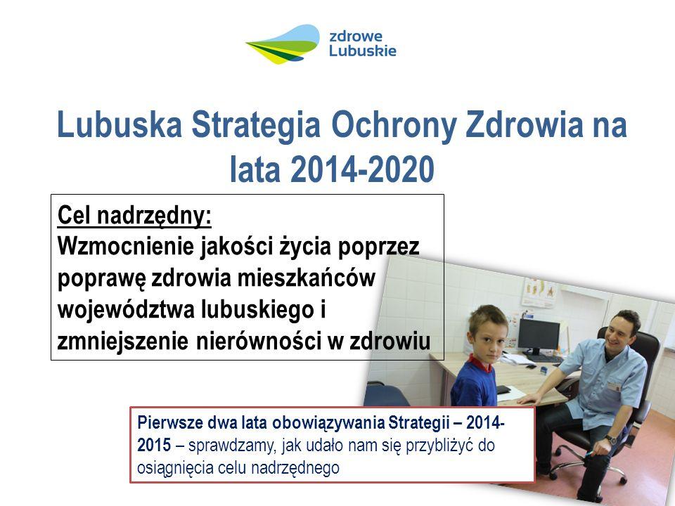 Lubuska Strategia Ochrony Zdrowia na lata 2014-2020 Cel nadrzędny: Wzmocnienie jakości życia poprzez poprawę zdrowia mieszkańców województwa lubuskiego i zmniejszenie nierówności w zdrowiu Pierwsze dwa lata obowiązywania Strategii – 2014- 2015 – sprawdzamy, jak udało nam się przybliżyć do osiągnięcia celu nadrzędnego