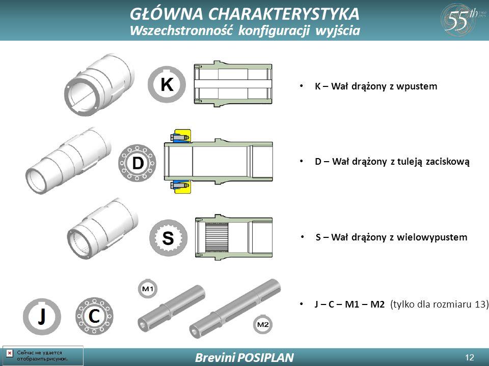 12 GŁÓWNA CHARAKTERYSTYKA Wszechstronność konfiguracji wyjścia Brevini POSIPLAN K – Wał drążony z wpustem S – Wał drążony z wielowypustem D – Wał drążony z tuleją zaciskową J – C – M1 – M2 (tylko dla rozmiaru 13)