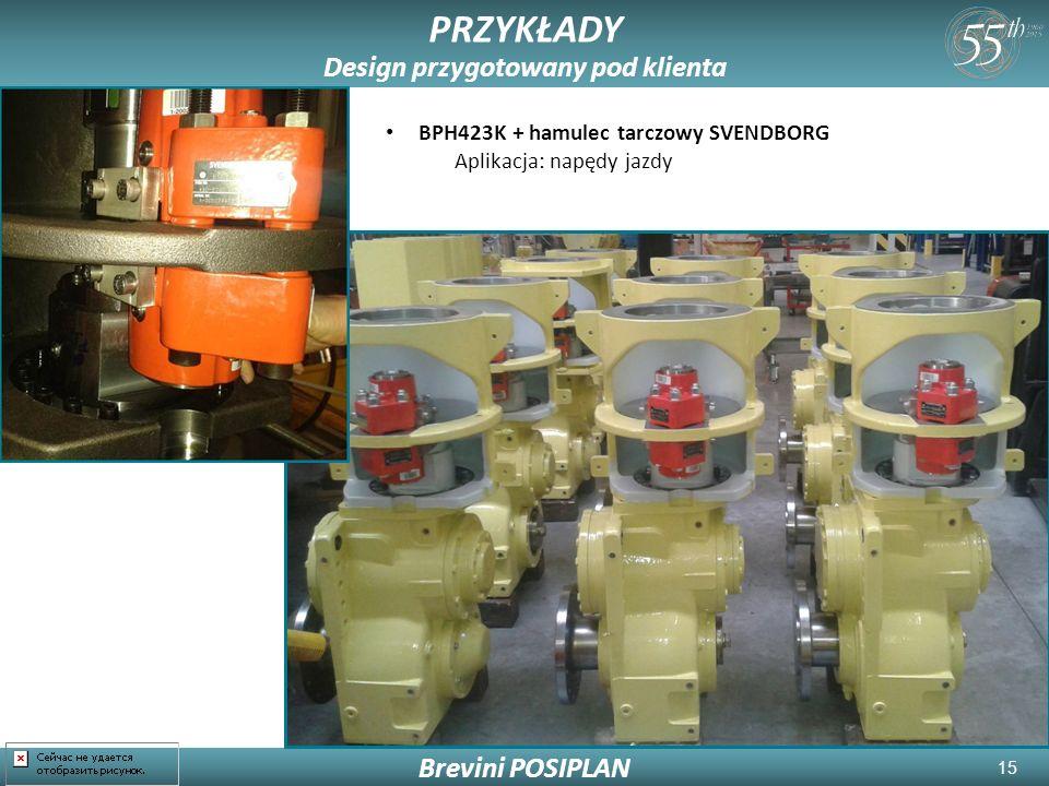 15 Brevini POSIPLAN PRZYKŁADY Design przygotowany pod klienta BPH423K + hamulec tarczowy SVENDBORG Aplikacja: napędy jazdy
