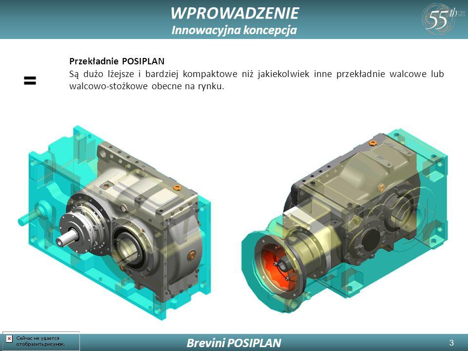 3 WPROWADZENIE Innowacyjna koncepcja Brevini POSIPLAN = Przekładnie POSIPLAN Są dużo lżejsze i bardziej kompaktowe niż jakiekolwiek inne przekładnie walcowe lub walcowo-stożkowe obecne na rynku.