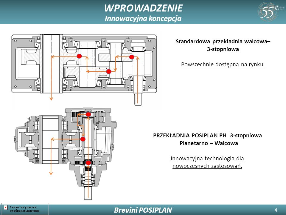 5 WPROWADZENIE Innowacyjna koncepcja Brevini POSIPLAN Wydłużone koło słoneczne pracuje w drążonym wale zębnika i obraca się w tej samej osi.