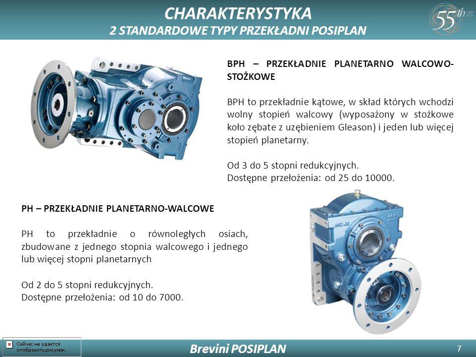 7 CHARAKTERYSTYKA 2 STANDARDOWE TYPY PRZEKŁADNI POSIPLAN Brevini POSIPLAN BPH – PRZEKŁADNIE PLANETARNO WALCOWO- STOŻKOWE BPH to przekładnie kątowe, w skład których wchodzi wolny stopień walcowy (wyposażony w stożkowe koło zębate z uzębieniem Gleason) i jeden lub więcej stopień planetarny.