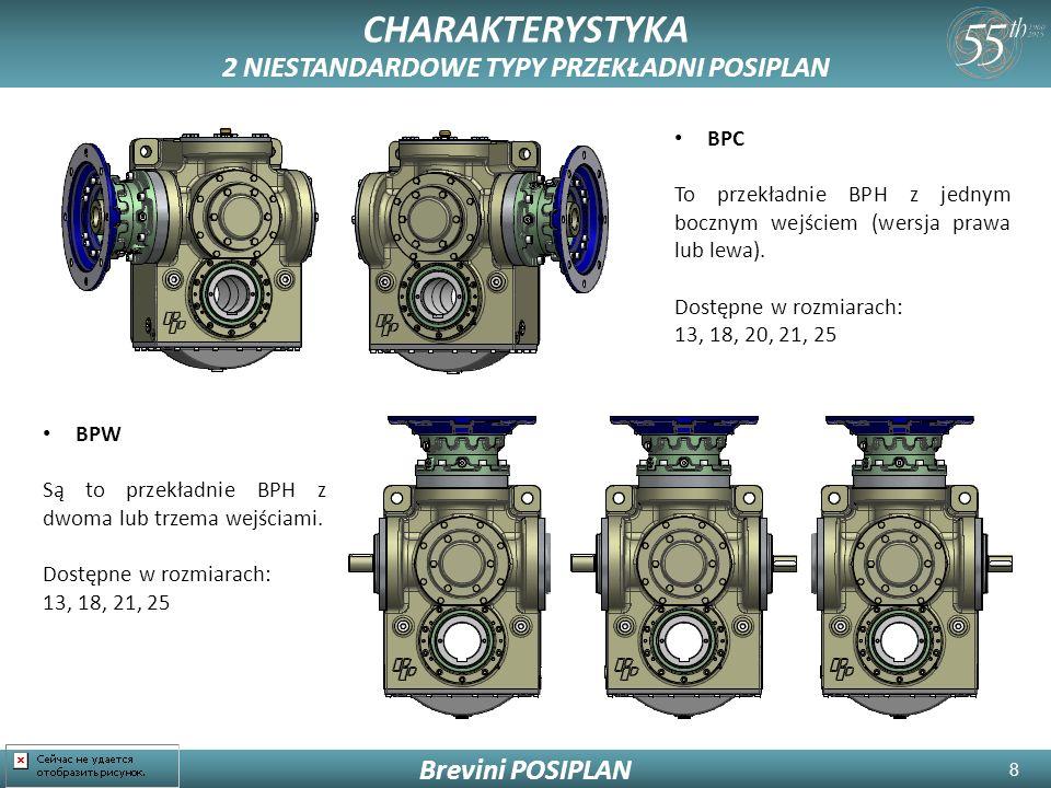 8 CHARAKTERYSTYKA 2 NIESTANDARDOWE TYPY PRZEKŁADNI POSIPLAN Brevini POSIPLAN BPC To przekładnie BPH z jednym bocznym wejściem (wersja prawa lub lewa).
