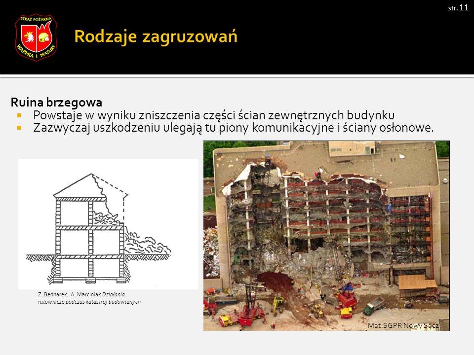 str. 11 Ruina brzegowa  Powstaje w wyniku zniszczenia części ścian zewnętrznych budynku  Zazwyczaj uszkodzeniu ulegają tu piony komunikacyjne i ścia