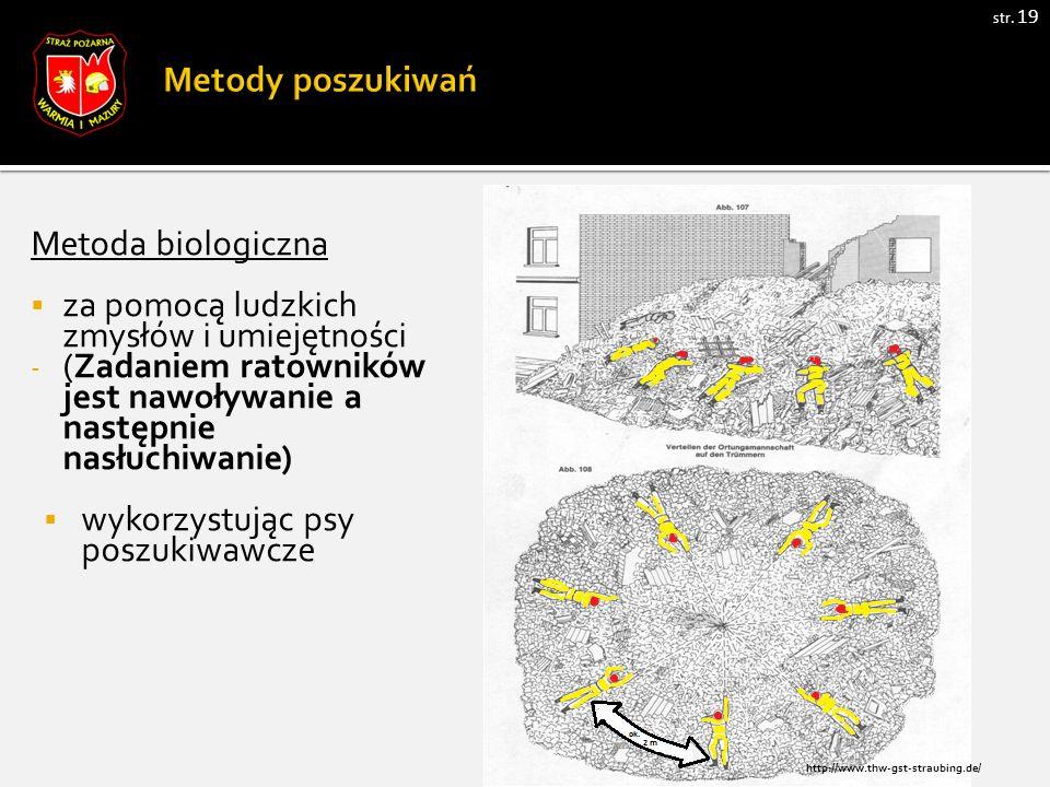 str. 19 Metoda biologiczna  za pomocą ludzkich zmysłów i umiejętności - (Zadaniem ratowników jest nawoływanie a następnie nasłuchiwanie)  wykorzystu