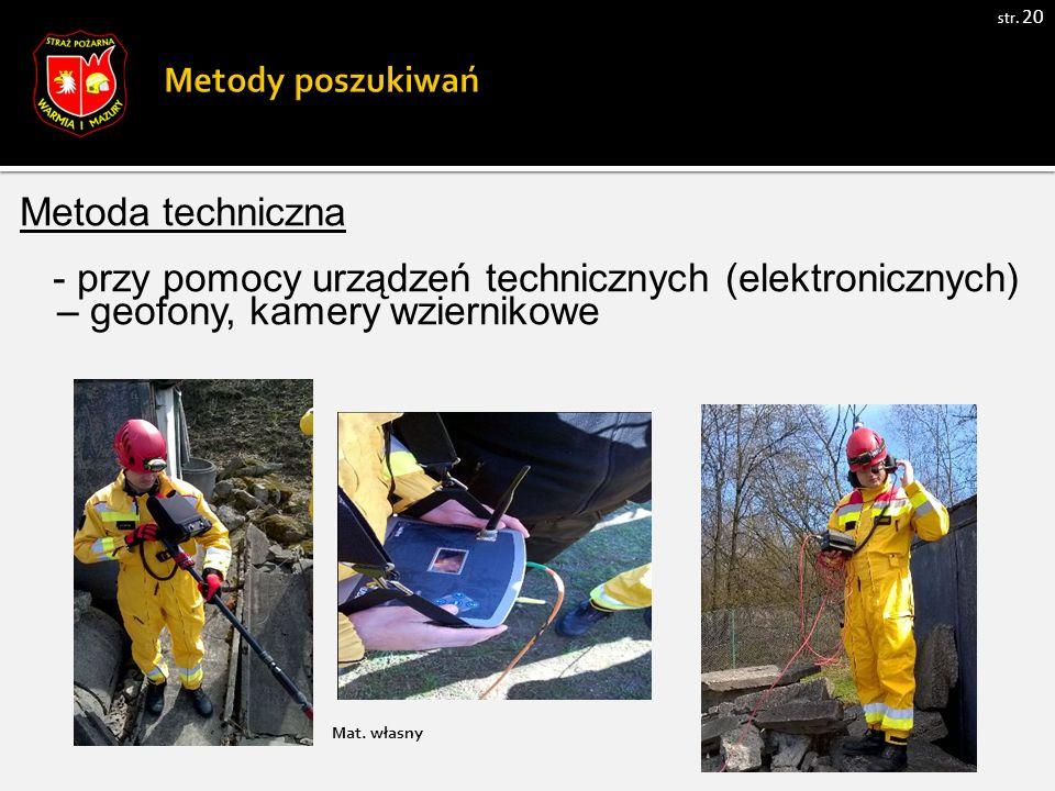 str. 20 Metoda techniczna - przy pomocy urządzeń technicznych (elektronicznych) – geofony, kamery wziernikowe Mat. własny