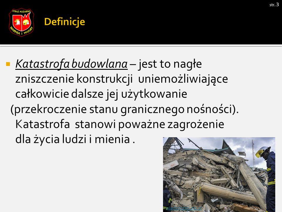 str. 3  Katastrofa budowlana – jest to nagłe zniszczenie konstrukcji uniemożliwiające całkowicie dalsze jej użytkowanie (przekroczenie stanu graniczn