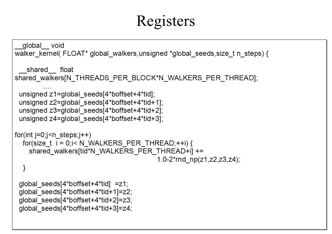 Registers __global__ void walker_kernel( FLOAT* global_walkers,unsigned *global_seeds,size_t n_steps) { __shared__ float shared_walkers[N_THREADS_PER_BLOCK*N_WALKERS_PER_THREAD];....