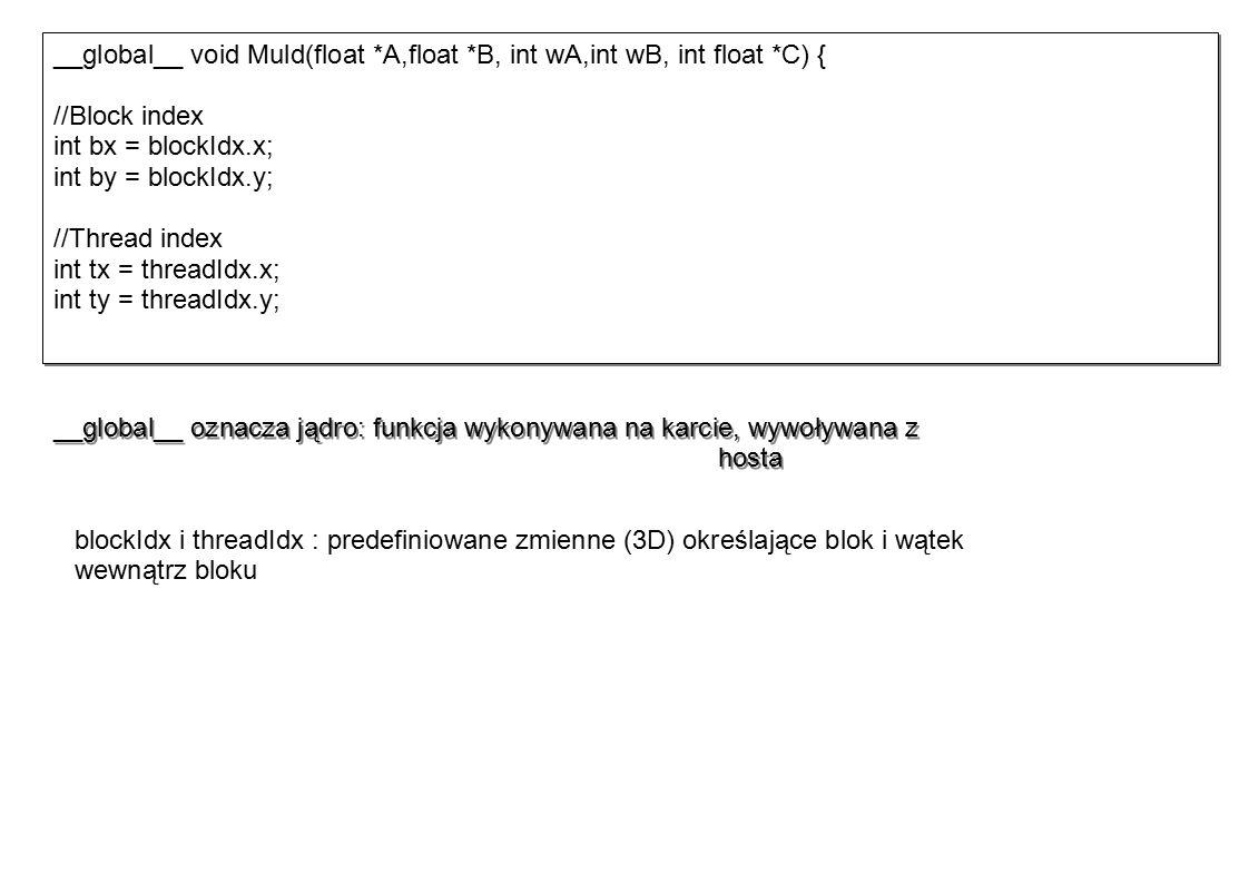 __global__ void Muld(float *A,float *B, int wA,int wB, int float *C) { //Block index int bx = blockIdx.x; int by = blockIdx.y; //Thread index int tx = threadIdx.x; int ty = threadIdx.y; __global__ void Muld(float *A,float *B, int wA,int wB, int float *C) { //Block index int bx = blockIdx.x; int by = blockIdx.y; //Thread index int tx = threadIdx.x; int ty = threadIdx.y; __global__ oznacza jądro: funkcja wykonywana na karcie, wywoływana z hosta blockIdx i threadIdx : predefiniowane zmienne (3D) określające blok i wątek wewnątrz bloku