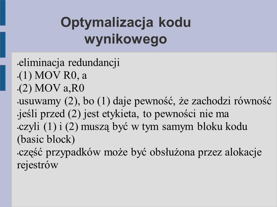 Optymalizacja kodu wynikowego eliminacja redundancji (1) MOV R0, a (2) MOV a,R0 usuwamy (2), bo (1) daje pewność, że zachodzi równość jeśli przed (2) jest etykieta, to pewności nie ma czyli (1) i (2) muszą być w tym samym bloku kodu (basic block) część przypadków może być obsłużona przez alokacje rejestrów