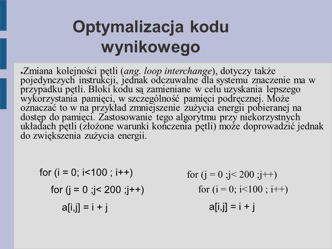 Optymalizacja kodu wynikowego ● Zmiana kolejności pętli (ang.