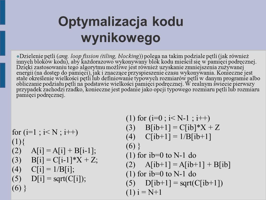 Optymalizacja kodu wynikowego Dzielenie pętli (ang.