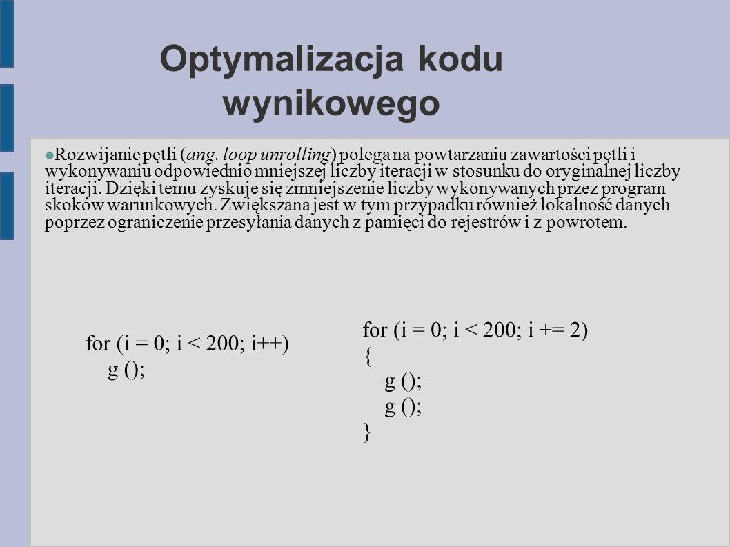 Optymalizacja kodu wynikowego Rozwijanie pętli (ang.