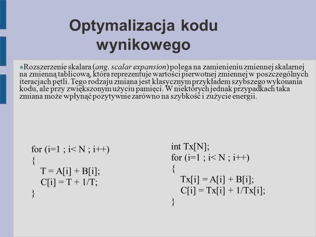 Optymalizacja kodu wynikowego Rozszerzenie skalara (ang.