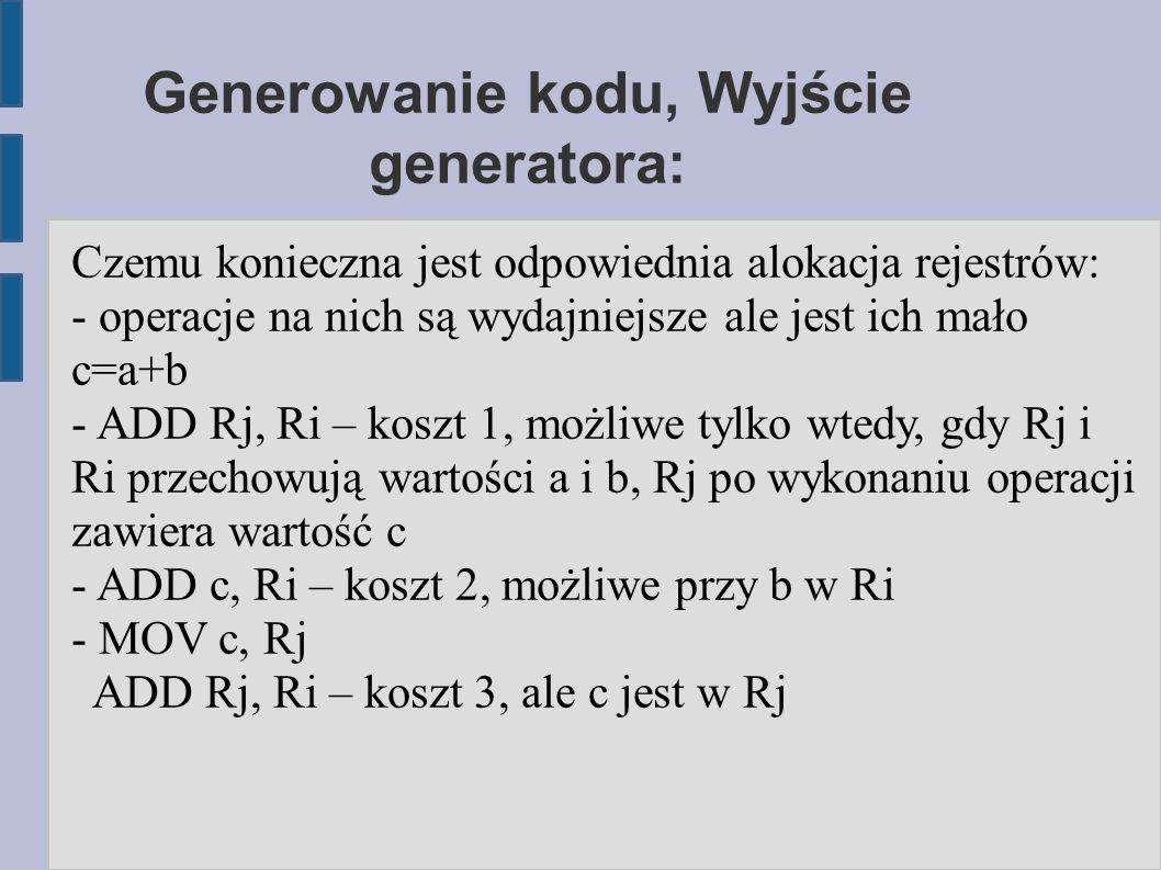 Generowanie kodu, Wyjście generatora: Czemu konieczna jest odpowiednia alokacja rejestrów: - operacje na nich są wydajniejsze ale jest ich mało c=a+b - ADD Rj, Ri – koszt 1, możliwe tylko wtedy, gdy Rj i Ri przechowują wartości a i b, Rj po wykonaniu operacji zawiera wartość c - ADD c, Ri – koszt 2, możliwe przy b w Ri - MOV c, Rj ADD Rj, Ri – koszt 3, ale c jest w Rj