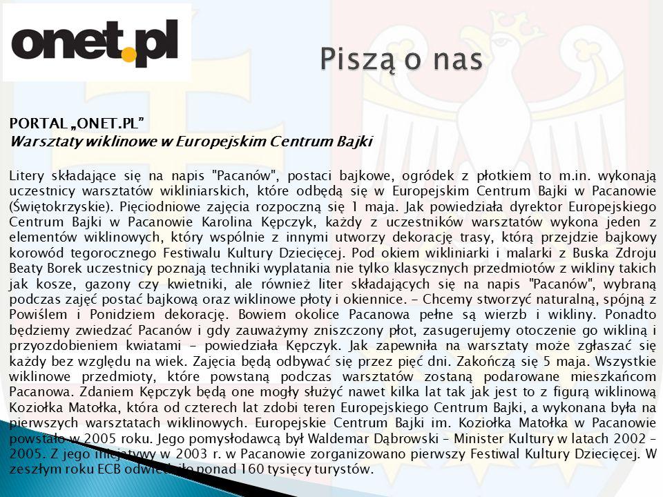 """PORTAL """"ONET.PL"""" Warsztaty wiklinowe w Europejskim Centrum Bajki Litery składające się na napis"""
