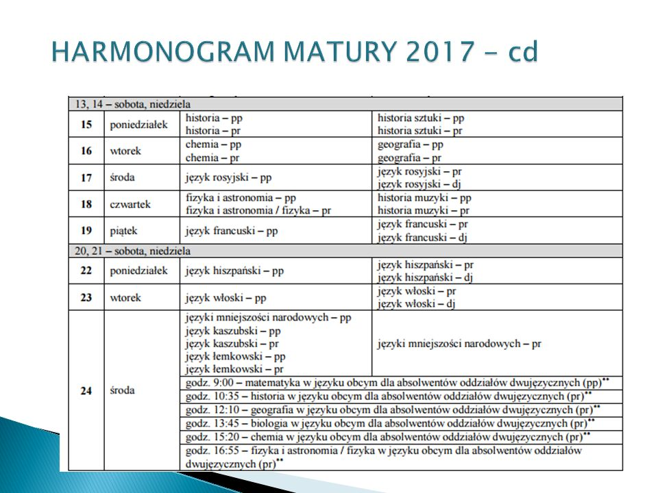 HARMONOGRAM MATURY 2017 - cd