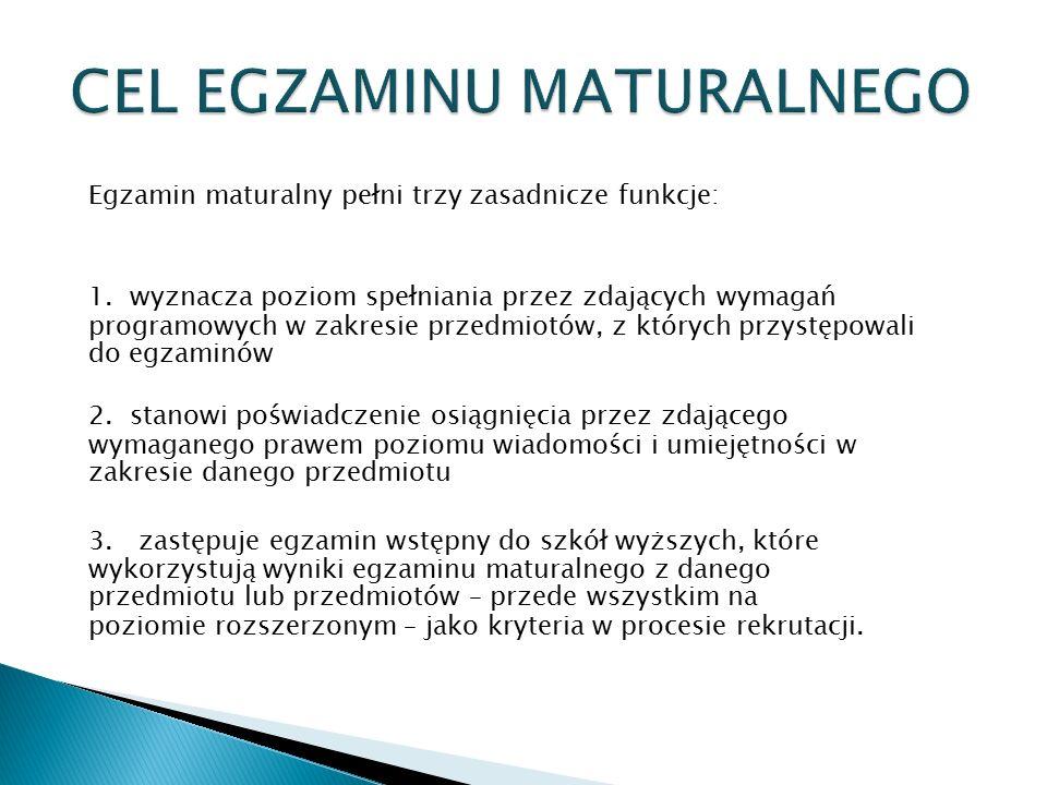Egzamin maturalny pełni trzy zasadnicze funkcje: 1. wyznacza poziom spełniania przez zdających wymagań programowych w zakresie przedmiotów, z któryc