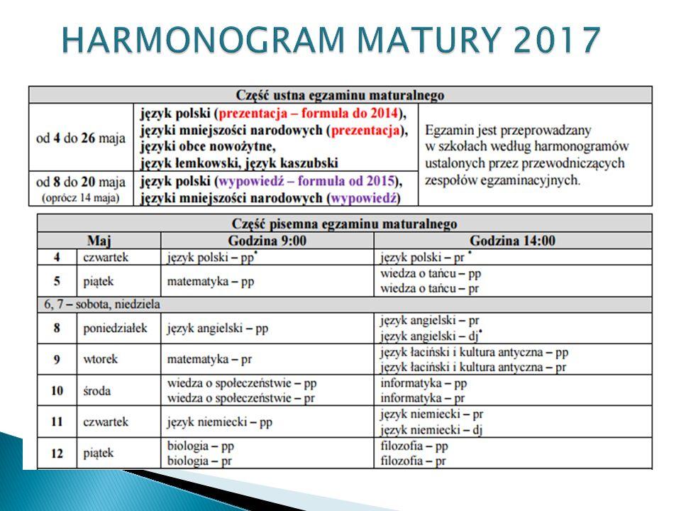 HARMONOGRAM MATURY 2017