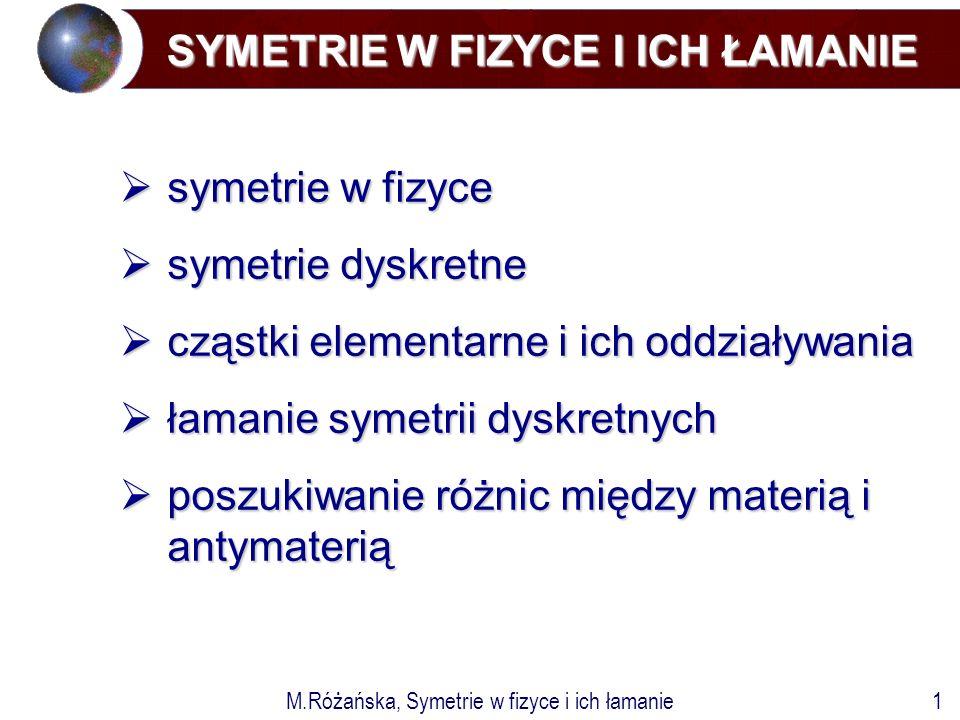 M.Różańska, Symetrie w fizyce i ich łamanie1 SYMETRIE W FIZYCE I ICH ŁAMANIE  symetrie w fizyce  symetrie dyskretne  cząstki elementarne i ich oddziaływania  łamanie symetrii dyskretnych  poszukiwanie różnic między materią i antymaterią
