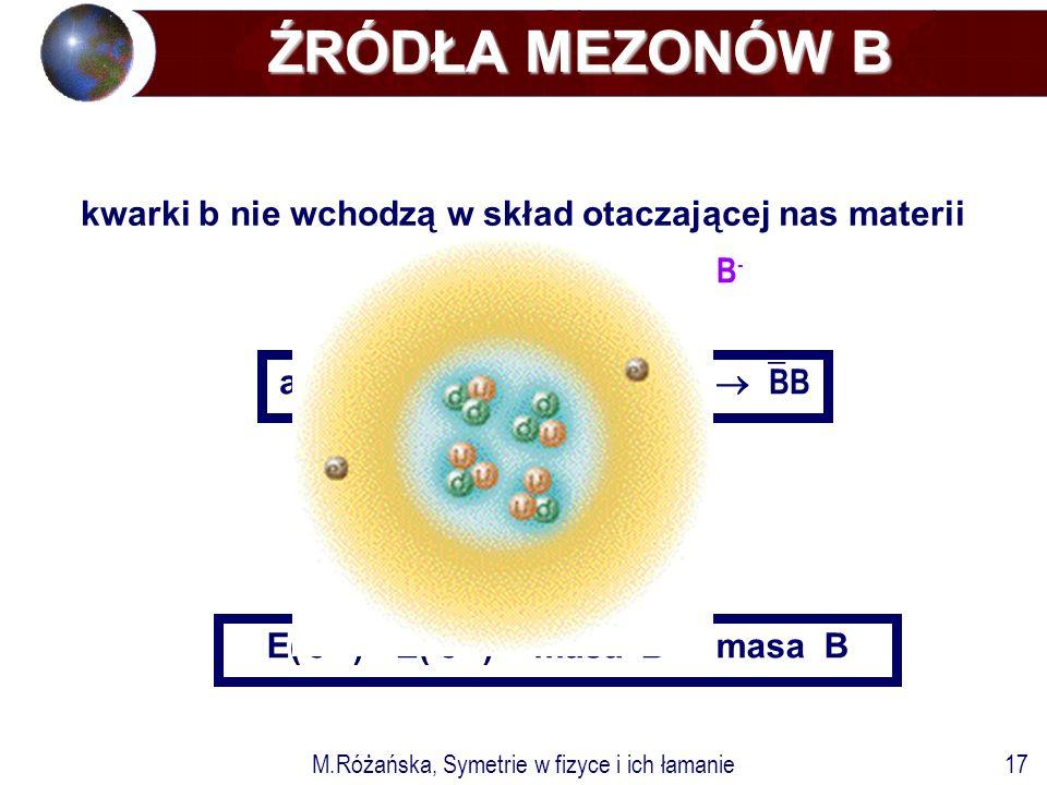 M.Różańska, Symetrie w fizyce i ich łamanie17 e-e- e+e+ e+e+ b bb uu u B+B+ B-B- anihilacja e + e -   bb  BB E( e + )+ E( e - ) = masa  B + masa B ŹRÓDŁA MEZONÓW B ŹRÓDŁA MEZONÓW B kwarki b nie wchodzą w skład otaczającej nas materii