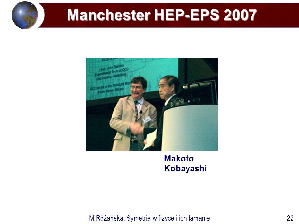 M.Różańska, Symetrie w fizyce i ich łamanie22 Manchester HEP-EPS 2007 Makoto Kobayashi