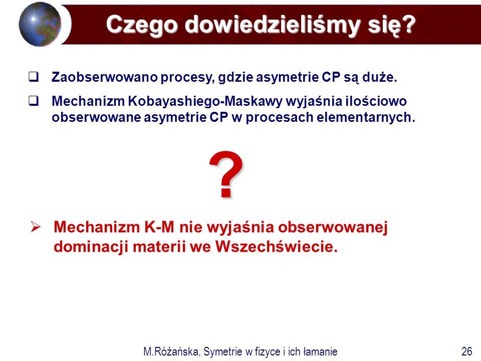 M.Różańska, Symetrie w fizyce i ich łamanie26  Mechanizm K-M nie wyjaśnia obserwowanej dominacji materii we Wszechświecie.