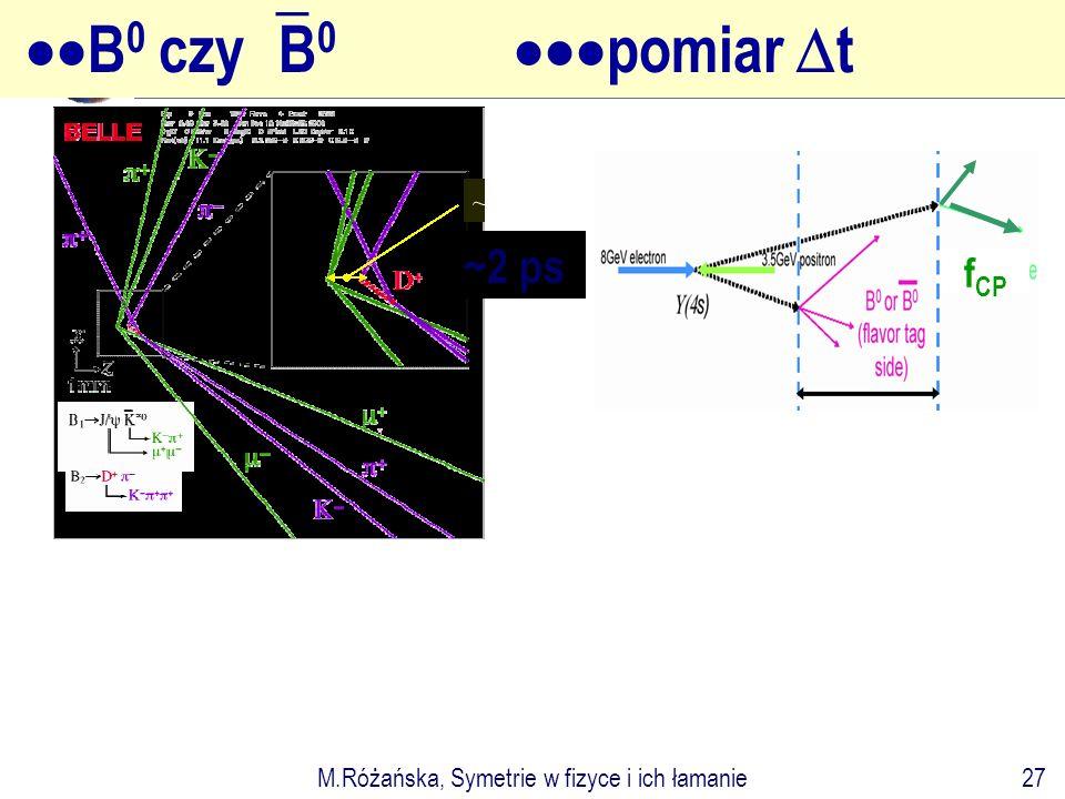 M.Różańska, Symetrie w fizyce i ich łamanie27 ~2 ps  B 0 czy  B 0  pomiar  t f CP