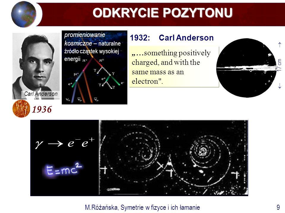 """M.Różańska, Symetrie w fizyce i ich łamanie9 ODKRYCIE POZYTONU ODKRYCIE POZYTONU 1932: Carl Anderson 1936 Carl Anderson """"…something positively charged, and with the same mass as an electron ."""