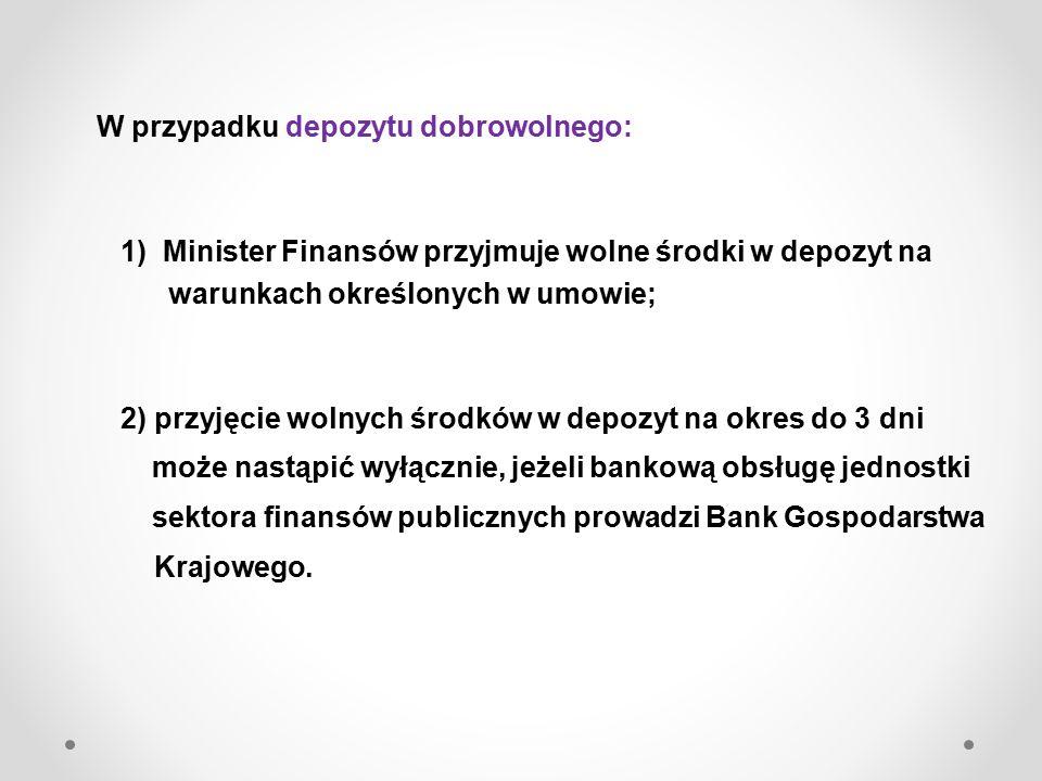 W przypadku depozytu obligatoryjnego, wolne środki przyjmowane są w depozyt przez Ministra Finansów na czas oznaczony i podlegają zwrotowi w tej samej ilości zgodnie z dyspozycją danej jednostki sektora finansów publicznych.
