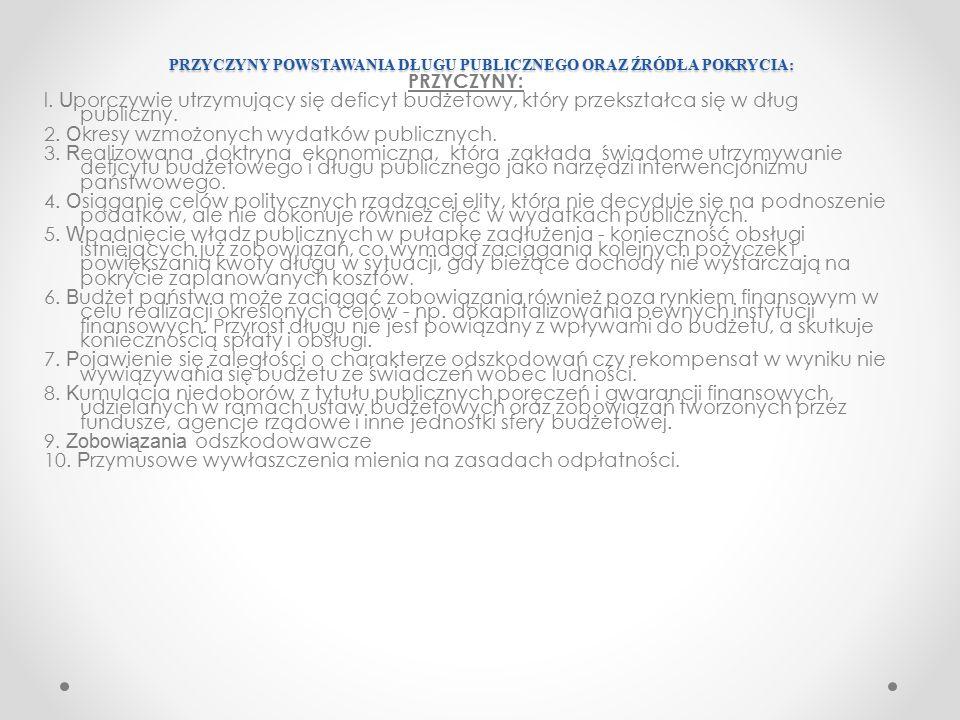 ŹRÓDŁA POKRYCIA DŁUGU PUBLICZNEGO: ŹRÓDŁA POKRYCIA DŁUGU PUBLICZNEGO: 1.Sprzedaż skarbowych papierów wartościowych na rynku krajowym i zagranicznym.
